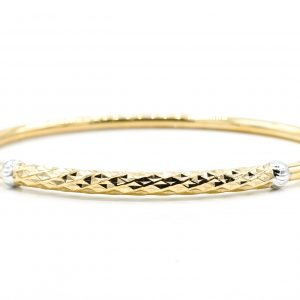 10K Bicolour Gold Italian Hollow Bangle