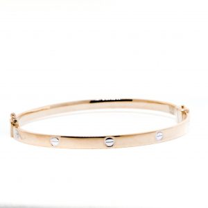 Cartier Styled White and Rose Gold Bangle