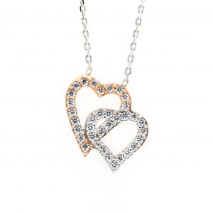 10K YELLOW AND ROSE GOLD CZ HEART NECKLACE