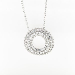 "10K WHITE GOLD CZ ""O"" NECKLACE"
