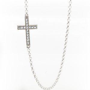 Ladies Cubic Zirconia Cross Necklace