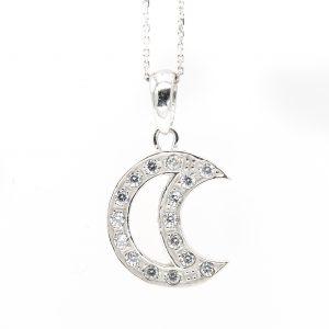 14K White Gold Crescent Moon Shaped Pendant w/ Cubic Zirconia