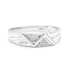 14K WHITE GOLD AND CZ BAND