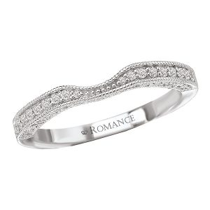 Sterling Silver Curved CZ Wedding Band