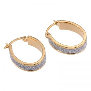 18K Gold Plated Sterling Silver and CZ Hoop Earrings