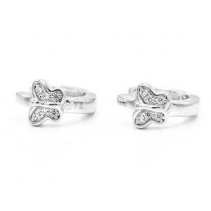 925 Sterling Silver CZ Butterfly Earrings
