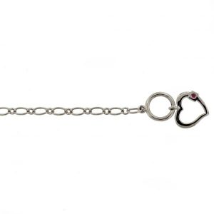 Sterling Silver Toggle Clasp Bracelet with Heart Charm
