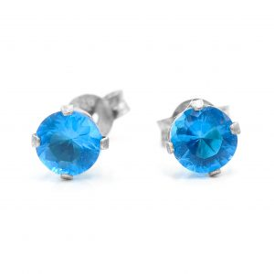 925 Sterling Silver Blue CZ Studs