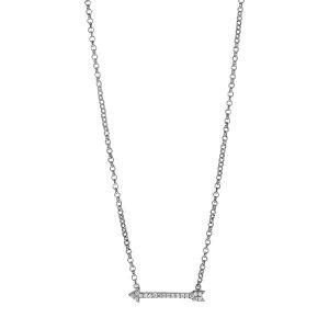 Sterling Silver CZ Arrow Necklace