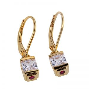 18K Gold Plated Sterling Silver and CZ Earrings
