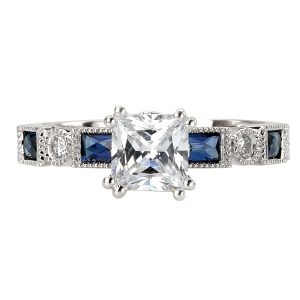 Sterling Silver Blue and White CZ Ring