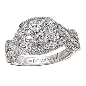 Sterling Silver Braided Shank Round CZ Ring