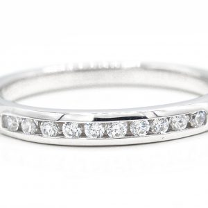 14K White Gold 10-Stone Cubic Zirconia Band