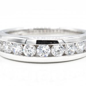 14K White Gold Cubic Zirconia Band