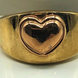 10K Yellow and Rose Heart Ring