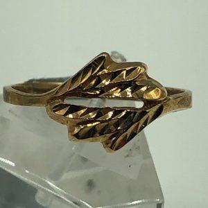 10K Yellow Diamond Cut Design Ring