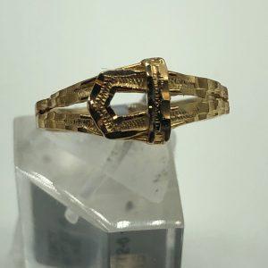 10K Yellow Diamond Cut Buckle Ring