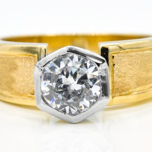 10K Yellow and White Gold Solitaire Cubic Zirconia Ring
