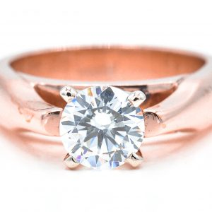 14K Rose Gold Solitaire Cubic Zirconia Ring