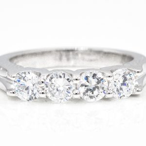 14K White Gold 4-Stone Cubic Zirconia Ring