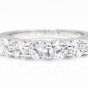 14K White Gold 5-Stone Cubic Zirconia Ring