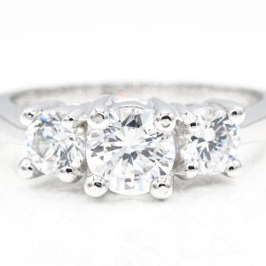 14K White Gold 3-Stone Cubic Zirconia Ring