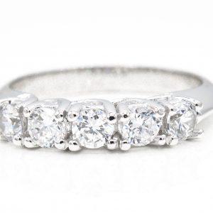 14K White Gold 5-Stone Cubic Zirconia Ring