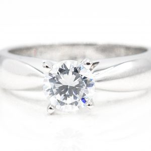 14K White Gold Solitaire Cubic Zirconia Ring