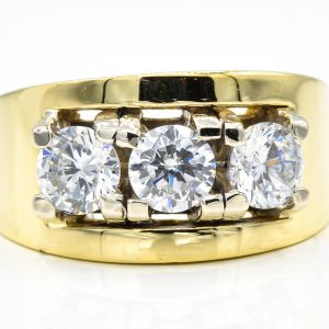 14K Yellow Gold 3-Stone Cubic Zirconia Ring