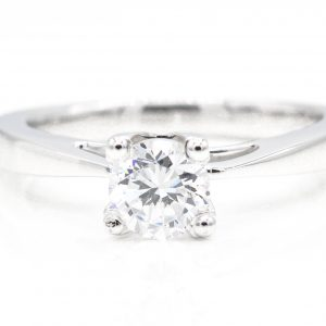 18K White Gold And Platinum Solitaire Cubic Zirconia Ring