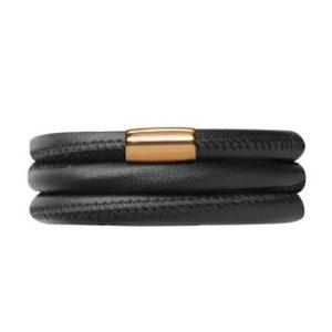 Endless Jewelry – Black Leather / Triple Bracelet w/Gold Lock – 63cm