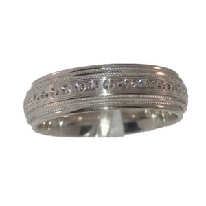6MM Polished Design Wedding Band with Center Double Milgrain Edging