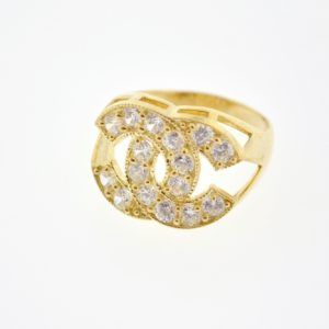 10KY Ladies Gold Coco Chanel Design Ring with Cubic Zirconia