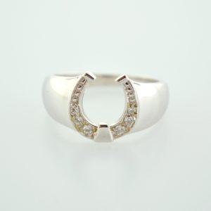 10KW Ladies Cubic Zirconia Horseshoe Ring