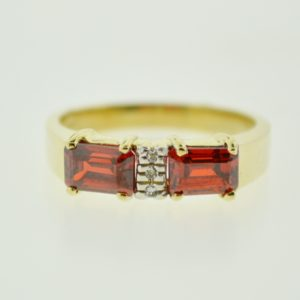 10KY 2-Stone Emerald-Cut Red Orange Cubic Zirconia Ring