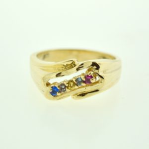 10K Yellow 5-Stone Cubic Zirconia Ring