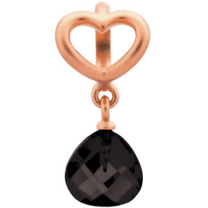 Endless Jewelry Black Heart Grip Drop Rose Gold Plated Charm