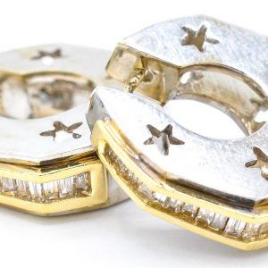 14 Karat White and Yellow Gold International Baguette Diamond Hoop Earrings with Star Cutouts