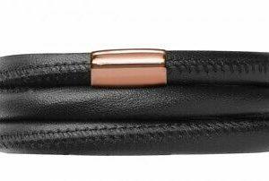 Endless Jewelry – Black Leather / Triple Bracelet w/Rose Lock – 60cm