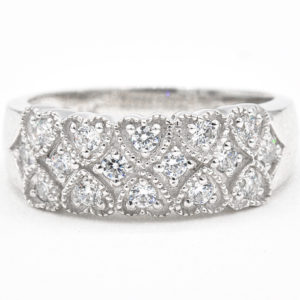 14K White Gold 3 Row Cubic Zirconia Band with Milgrain Hearts
