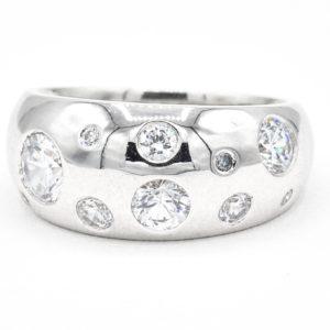 14K White Gold 10-Stone Multi-Sized Bezel Set Cubic Zirconia Ring