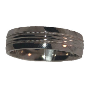 6.1MM Polished Design Wedding Band with Double Milgrain Centre Lining
