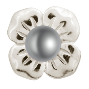 Endless Jewelry Big grey Pearl Flower Silver