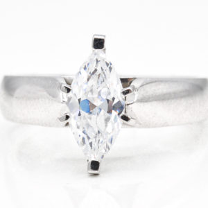 10K White Gold Solitaire Cubic Zirconia Ring