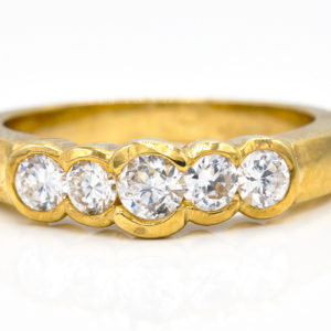 10K Yellow Gold 5-Stone Cubic Zirconia Ring