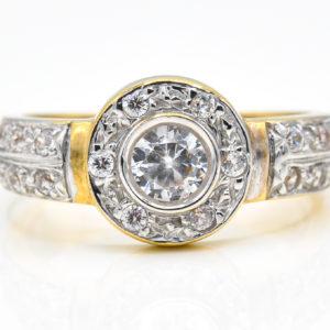 10K Yellow Gold Halo Design Cubic Zirconia Ring