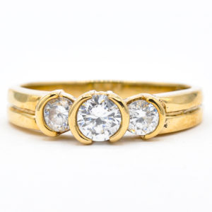 10K Yellow Gold 3-Stone Cubic Zirconia Ring