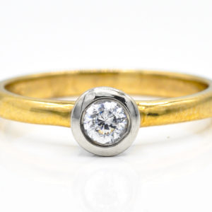 10K Yellow and White Gold Solitaire Bezel Set Cubic Zirconia Ring