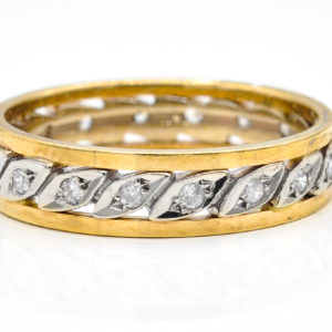 10K Yellow and White Gold Cubic Zirconia Ring