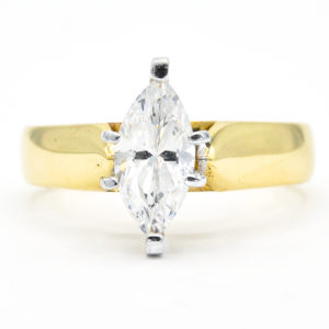 10K Yellow and White Gold Solitaire Marquise Cubic Zirconia Ring